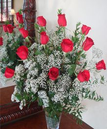 One dozen of the finest Ecuadorian roses carefully hand selected and arranged in all their natural beauty in a glass vase with baby's breath.